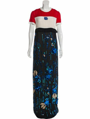 Prada 2019 Sequined Silk-Chiffon Gown w/ Tags navy