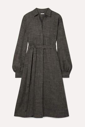 Co Belted Wool-blend Midi Dress - Dark gray