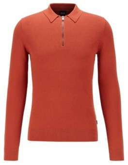 HUGO BOSS Zip-neck sweater in structured cotton with polo collar