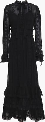 Zimmermann Pussy-bow Lace-trimmed Chiffon Maxi Dress