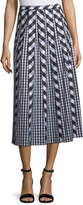 Lafayette 148 New York Adalia Belmont Check Shirting Midi Skirt
