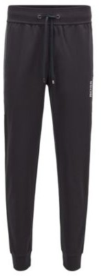 HUGO BOSS Cuffed jogging trousers in knitted pique with contrast inserts