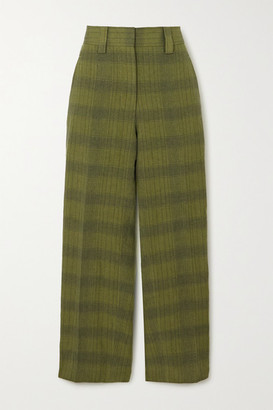 Acne Studios Checked Linen-blend Straight-leg Pants - Green
