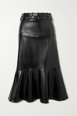 Palmer Harding Leuca Fluted Snake-effect Faux Leather Midi Skirt - Black
