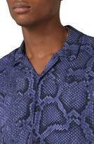 Topman Classic Fit Snakeskin Print Revere Shirt