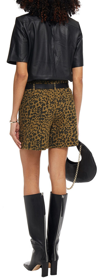 Thumbnail for your product : BA&SH Leopard-print Cotton-canvas Shorts