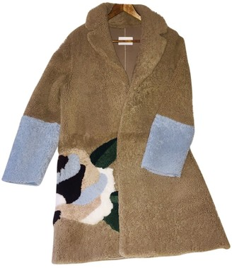 Sandro Fall Winter 2018 Beige Shearling Coat for Women