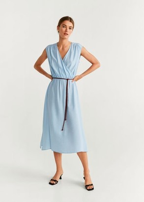 MANGO Flowy midi dress sky blue - 4 - Women