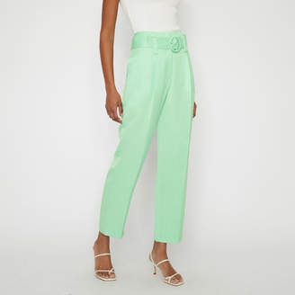 Warehouse PLEAT BELTED WIDE PEG TROUSERS