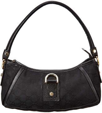 Gucci Black Gg Canvas & Leather D-Ring Shoulder Bag