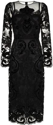 Dolce & Gabbana Lace Embellished Silk Midi Dress