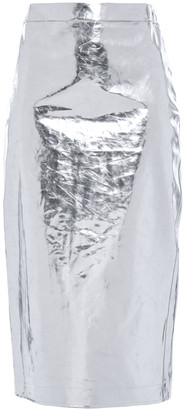 McQ Metallic Crinkled-vinyl Midi Pencil Skirt