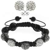 Gem Stone King Pave Disco Ball Dia-Cut Adjustable Bracelet & 12mm Earrings Set