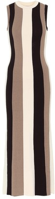 Ami Striped ribbed-knit maxi dress