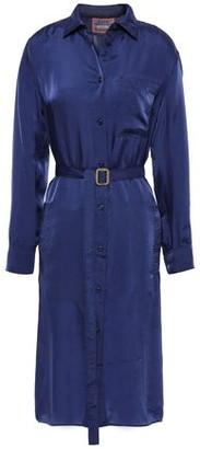 Acne Studios Belted Crinkled-satin Shirt Dress