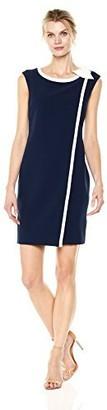 Sandra Darren Women's 1 Pc Extended Shoulder Overlay Crepe Sheath Dress