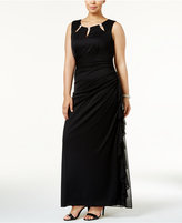 Betsy & Adam Plus Size Cutout Ruched Gown