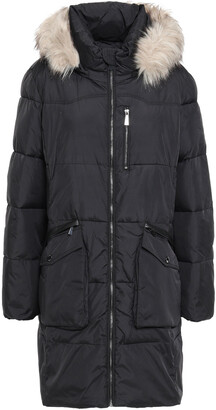 DKNY Loden Faux Fur-trimmed Quilted Shell Hooded Down Coat