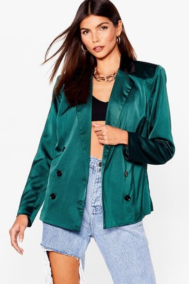 Nasty Gal Womens Let's Sleek Business Satin Double Breasted Blazer - Emerald