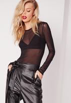 Missguided Mesh Bodysuit Black