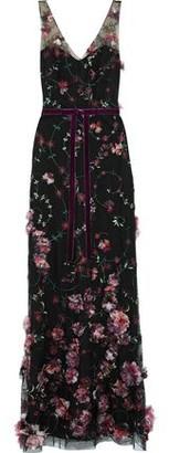 Marchesa Fluted Velvet-trimmed Floral-appliqued Tulle Gown