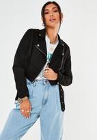Missguided Black Cropped Lightweight Faux Suede Biker Jacket