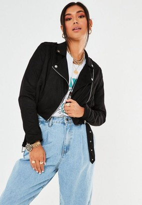 Missguided Black Cropped Lightweight Faux Suede Biker Jacket