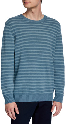 Vince Men's Shadow Stripe Merino Wool Crewneck Sweater