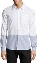 AG Jeans Colorblock Oxford Shirt, Oxford Blue/White