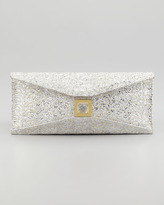 Kara Ross Stretch Prunella Embroidered Glitter Clutch Bag, Silver