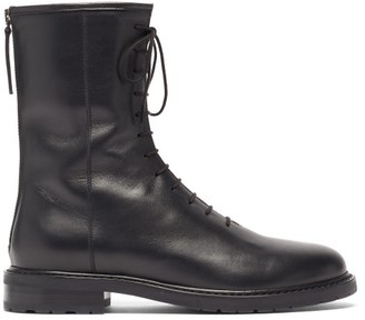 LEGRES Lace-up Leather Boots - Black