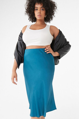 Forever 21 Plus Size Textured Satin Skirt