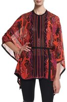 Roberto Cavalli Jewel-Neck Printed Tunic, Red/Pink/Purple