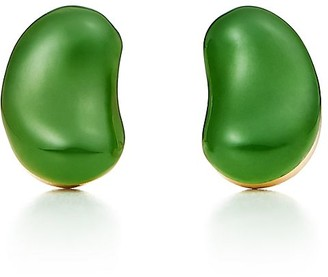 Tiffany & Co. Elsa Peretti Bean Design earrings in 18k gold and green jade