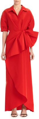 Carolina Herrera Collared 1/2-Sleeve Gown w/ Fan Detail