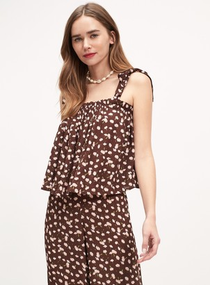 Miss Selfridge Chocolate Floral Print Tie Shoulder Camisole Top