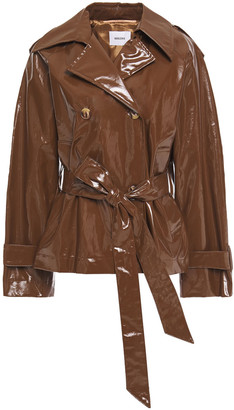 Nanushka Belted Vegan Glossed-leather Jacket