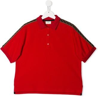 Fendi Kids TEEN logo trim polo shirt