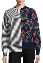 MSGM Striped & Floral Hybrid Sweater