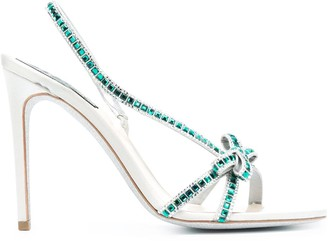 Rene Caovilla Crystal-Embellished High-Heel Sandals