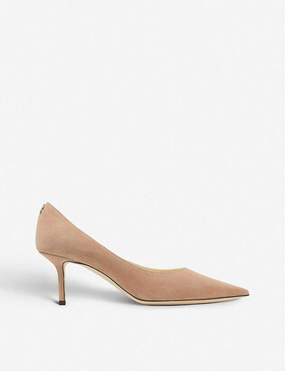 Jimmy Choo Love 65 logo-embellished suede courts