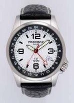 Torgoen T05105 Men's Aviator Steel Analog Quartz Watch with Date Indicator, Black Leather Strap, Waterproof to 10 ATM