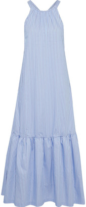3.1 Phillip Lim Gathered Striped Cotton-blend Poplin Maxi Dress