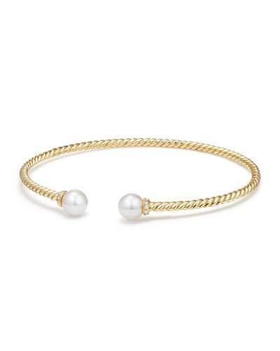 David Yurman Solari 18k Freshwater Pearl & Diamond Cuff Bracelet, Size L