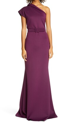 Badgley Mischka One-Shoulder Belted Gown