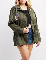 Charlotte Russe Plus Size Frayed Patch Anorak Jacket