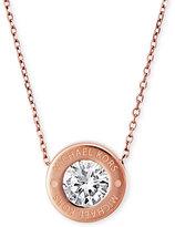 Michael Kors Bezel Set Crystal Logo Pendant Necklace