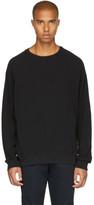 John Elliott Black Raglan Thermal Crewneck Sweater