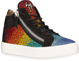 Giuseppe Zanotti Men's May London Embellished Rainbow Suede Sneakers