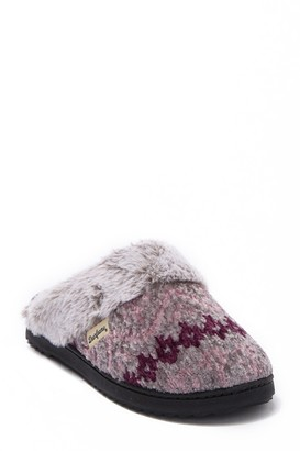 Dearfoams Chenille Fairisle Faux Fur Scuff Slipper